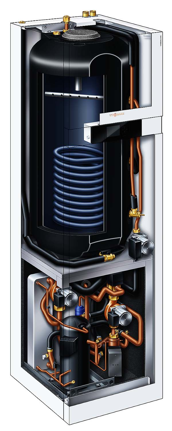 Тепловий насос Viessmann Vitocal 242-G ґрунт вода з бойлером 220 л сонячні колектори