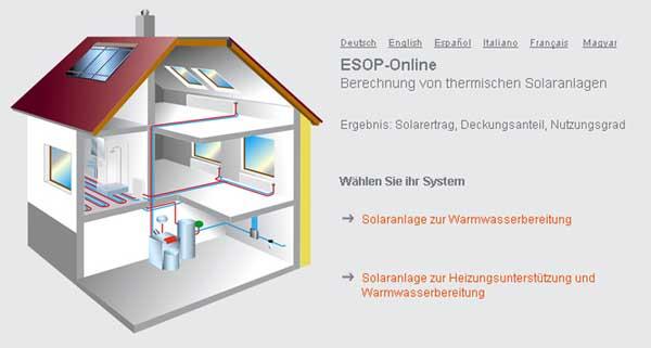 ESOP-online розрахунок геліосистеми калькулятор софт програмне забезпечення